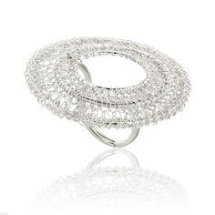 Δαχτυλίδι Αriadni Collection από επιπλατινωμένο ασήμι 925 χειροποίητο Frou Frou, Knit Crochet, Engagement Rings, Knitting, Wire, Jewelry, Fashion, Enagement Rings, Moda