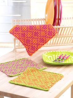 Mosaic Flower Dishcloths | Yarn | Free Knitting Patterns | Crochet Patterns | Yarnspirations