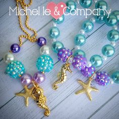 Ariel Little Mermaid Under the Sea assembled charm bracelet. It is a 6.25 inch bracelet on stretchy cord with aqua acrylic pearl beads, purple rhinestone beads, white acrylic pearl spacer beads and a gold tone sea horse and starfish charm. You will 4 of each design. Bracelets are