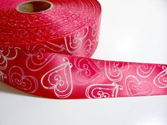 Red Hearts SingleFaced Satin Ribbon 1 1/2 by GriffithGardens, $3.25
