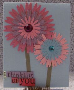 Thinking Of You Daisies A2 Greeting Card shimmery dimensional handmade by the Royal Pumpkin on The CraftStar #thecraftstar #uniquegifts