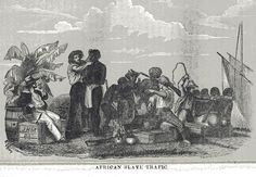 The first step in the slave trade process. Slaves are rounded up, bound, and forced onto the ships for transport back to the Americas by slave-traders.   Source: SLAVE SALES AND BRUTALITY / William O. Blake, The History of Slavery and the Slave Trade Columbus, Ohio, 1857 p. 112.jpg