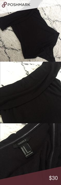 NWOT black off the shoulder bodysuit Black off the shoulder bodysuit with snaps Forever 21 Tops Blouses