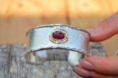 bracelet silver gold ruby rustic design