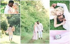 Sunset engagement photos.  Blush and white outfits.  Pink engagement ring.  Beautiful interracial couple.  Romantic wedding photography.  Keith & Melissa Photography, Lexington, Kentucky wedding photographers