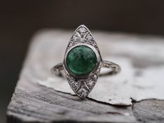 Art Deco 1920's Platinum & Gold - Emerald with Old Cut Diamonds Engagement Ring - VEG#287 by VermaEstateJewels on Etsy https://www.etsy.com/uk/listing/255138421/art-deco-1920s-platinum-gold-emerald