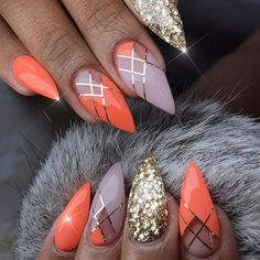 Orange and Gold stripes with glitter nail art for summer. 12 Trending ideas.