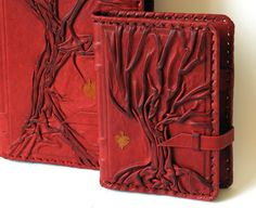 Handmade leather notebook book cover diary Tree by LeatherOlymp