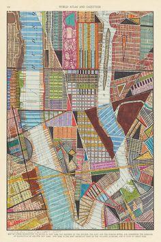 Lower Manhattan Print: archival giclee reproduction of original city map art multi-color modern art geometric shapes choose your size Lower Manhattan, Map Quilt, Quilts, Planning School, Canvas Wall Art, Canvas Prints, Art Graphique, Artist Canvas, Map Art