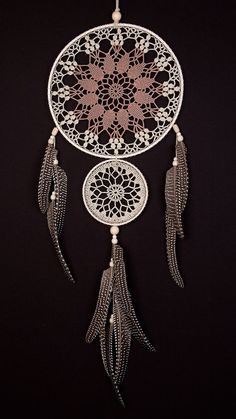 Large Beige Brown Dream Catcher Handmade Crochet Doily Dreamcatcher feathers…