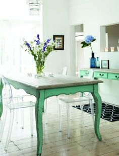 Distressed painted table, green,  paired with modern ghost chairs