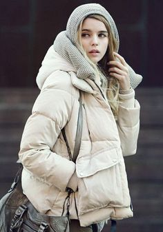 Puffer Down Coat - Apricot