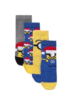 Clothing at Tesco | Universal Studios Despicable Me 4 Pair Pack of Minion Socks > socks > Socks & Underwear > Kids
