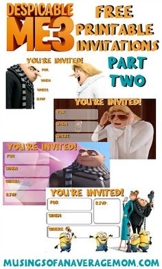 Free printable despicable me 3 party invitations