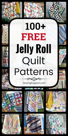 Over 100 Free Jelly Roll strip quilt patterns, tutorials, and diy sewing projects. Many simple and easy ideas for beginners to sew. #SewingSupport #JellyRoll #Quilts #Quilting #Pattern #Free