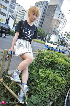 120702-0357 - Japanese street fashion in Shibuya, Tokyo (ALPHA, Mawaru-Penguindrum, ADIDAS, Candy Stripper)