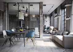 Industrial Style Loft with charming elements to add to your home decor. A breath of fresh air into your industrial style loft. In an industrial style world, the interior design project of today will m Loft Estilo Industrial, Industrial Apartment, Industrial Interior Design, Industrial Interiors, Apartment Interior, Contemporary Interior, Home Interior Design, Interior Architecture, Industrial Style