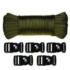The Friendly Swede - 110 Feet - 7 Strand - 550 Lb Paracord Hank and Buckles ** Click on the image for additional details.