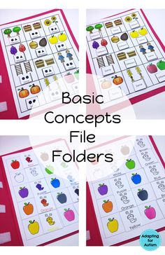 Basic Concepts File Folder Activities for special education classrooms and speech therapy.  Differentiated with 2 levels for each of 10 concepts.