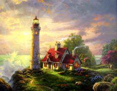 Lighthouse Pictures Thomas Kinkade | ... Light PANORAMIC 18x36 Artist Proof Thomas Kinkade Lighthouse Canvas