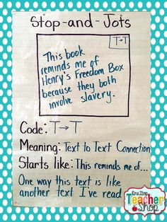 Stop and Jots anchor chart: Check out my collection of anchor charts for math, reading, writing, and grammar. I love anchor charts even though I'm not so great at making them! I hope you enjoy my anchor charts!