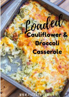 Loaded Cauliflower Broccoli Casserole This keto friendly cauliflower broccoli casserole is the perfect side dish to have on the dinner table. Loaded with bacon, cheddar cheese, and sour cream you won't even miss the potatoes in this dish! Keto Casserole, Easy Casserole Recipes, Casserole Dishes, Casserole Ideas, Low Carb Recipes, Diet Recipes, Cooking Recipes, Recipes Dinner, Breakfast