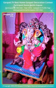 Sachin Kapase Home Ganpati 2016 Decoration Pictures, Decorating With Pictures, Ganpati Picture, Ganpati Festival, Ganesha Pictures, Festival Decorations, Picture Video, Tv, Television Set
