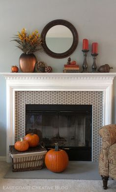 A Fall Mantel: 2 Ways {Mantle} - East Coast Creative Blog Diy Mantel, Decorating A Mantle, Mantel Ideas, Fireplace Design, Fireplace Molding, Tiled Fireplace, Fireplace Tile Surround, Fireplace Redo, Fireplace Remodel