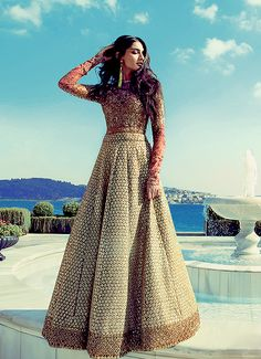 Love this outfit! Sonam Kapoor in a red and gold Sabyasachi Indian outfit // lengha, lehenga fashion, sari, saree Sonam Kapoor, Pakistani Outfits, Indian Outfits, Collection Eid, Lehenga Collection, Indian Bridal Wear, Desi Clothes, Indian Clothes, Indian Couture