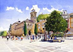 Plaza Nueva Print featuring the painting Plaza Nueva by Margaret Merry