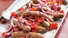 Easy Italian Sausages. 5 ingredients. Ready in 25 minutes. Serve over couscous, or in a sandwich.