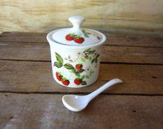 Vintage Porcelain Strawberry Jam Jar with Spoon