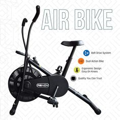 Reach Air Bike Exercise Cycle with Moving Handles & Adjustable Cushioned Seat (Multi-Color) Reach Air Bike Exercise Cycle with Moving Handles & Adjustable Cushioned Seat (Multi-Color) out of 5 stars 171 Cycling Workout, Gym Workouts, At Home Workouts, Best Exercise Bike, Exercise Cycle, Good Treadmills, Gym Essentials, Cycling Bikes, Burn Calories