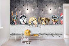 Playroom Wallpaper, Cute Dog Wallpaper, Wall Wallpaper, Dog Grooming Shop, Dog Grooming Salons, Dog Salon, Dog Daycare, Cartoon Dog, Wall Murals