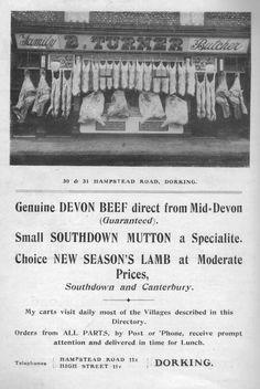 B. Turner Butchers, Dorking. Advert 1913