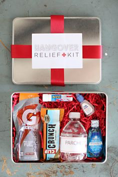 A hangover kit with water, Gatorade, Aleve and other goodies. So necessary.