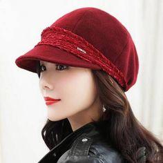 Wool newsboy cap for women winter pageboy baker boy cap