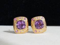 Amethysts set in rose gold and surrounded by sapphires and diamonds. Amethysts, Art Academy, Amethyst Earrings, Handcrafted Jewelry, Bridal Jewelry, Jewelry Crafts, Class Ring, Sapphire, Diamonds