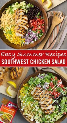 Using Taco Seasoning in a marinade is a great way to infuse chicken with a Southwestern flavor. Sliced grilled chicken over this southwestern style salad for the perfect lunch or light dinner recipe. Top with cheese, tomatoes, avocado and more! Salad Recipes, Diet Recipes, Chicken Recipes, Cooking Recipes, Healthy Recipes, Recipe Chicken, Southwest Chicken, Southwestern Style, Southwest Salad