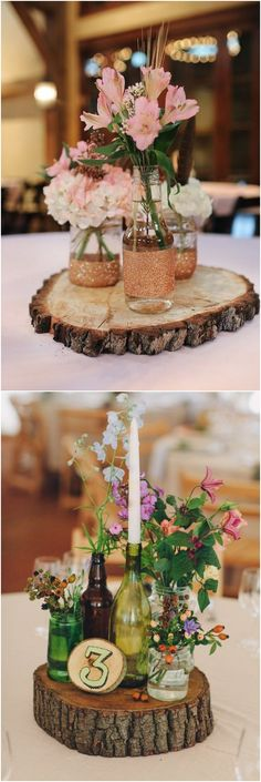 rustic tree stump wedding centerpieces / http://www.deerpearlflowers.com/rustic-woodsy-wedding-trend-tree-stump/ #rustic #rusticwedding #countrywedding #weddingideas