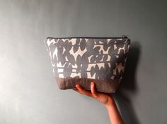 Large Zipped Pouch  Linen and  Modern Classic Print