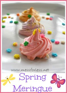 Spring Meringue Recipe - These were so easy to make and will just melt in your mouth!