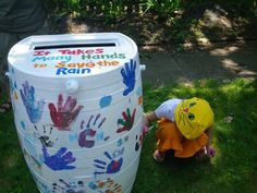 This is going on my rain barrel. I'm going to collect handprints. Rain Water Barrel, Rain Barrels, Painted Trash Cans, Wood Router, Wood Lathe, Cnc Router, Auction Projects, Auction Ideas, Footprint Crafts