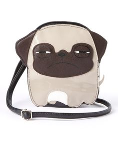 Look at this Sleepyville Critters Beige Angry Pug Crossbody Bag on #zulily #pug today!