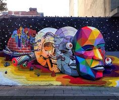 by Okuda + Smitheone in Mexico City (LP) Murals Street Art, Street Art Banksy, Banksy Art, Mural Art, Amazing Street Art, Best Street Art, Street Art Melbourne, Okuda, Urbane Kunst
