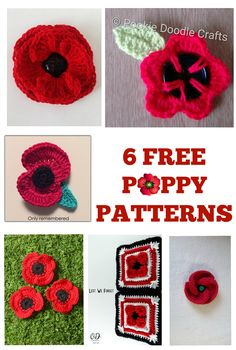 Crochet Flowers Pattern Crochet these beautiful poppies to keep and share with loved ones. Knitted Poppy Free Pattern, Knitted Flower Pattern, Crochet Puff Flower, Crochet Flower Tutorial, Crochet Flower Patterns, Crochet Motif, Free Crochet, Knitting Patterns, Knitting Stiches