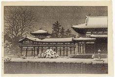 1951 - Hasui, Kawase - Hoodo no bosetsu (Evening snow at the Phoenix Hall [Byodoin Temple])