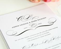 Modern Vintage Wedding Invitations in Black on White Shimmer Cardstock - Wedding Invitations by Shine