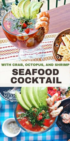 """This Seafood Cocktail or """"Vuelve a La Vida"""" literally means """"come back to life"""". It is made with Oysters, crab pulp, octopus, and shrimp. This quick and easy mix of fresh seafood, tomato and lime juices is a refreshing light meal perfect for the summer. Mexican Seafood, Real Mexican Food, Fish And Seafood, Mexican Food Recipes, Ethnic Recipes, Seafood Recipes, Appetizer Recipes, Chicken Recipes, Appetizers"""
