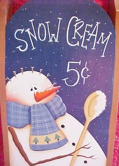 Hand Painted Sled - Snow Cream Snowman